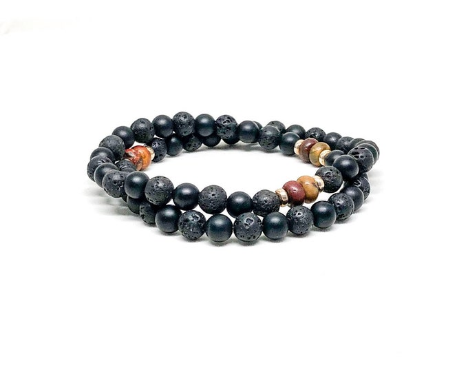 Men's bracelet with matte onyx, lava stone, picasso jasper and 925 silver.