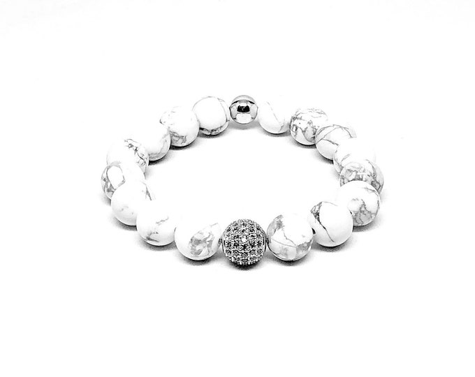 Women's bracelet with Howlite, Cubic Zirconia and 925 Silver.