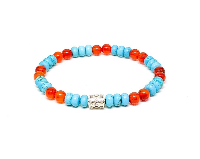 Men's bracelet with turquoise, orange carnelian and 925 silver.