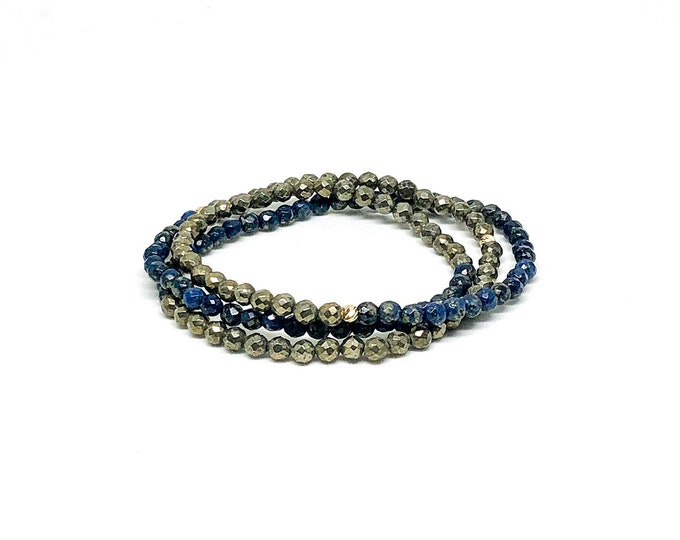 Men's bracelet with 14k solid yellow gold with diamond cut and pyrite beads.