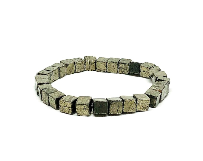 Men's beaded bracelet with Copper Pyrite.