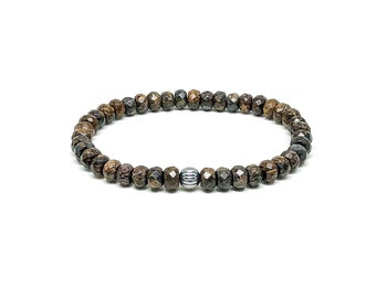 Men's bracelet with Bronzite and 925 Silver.