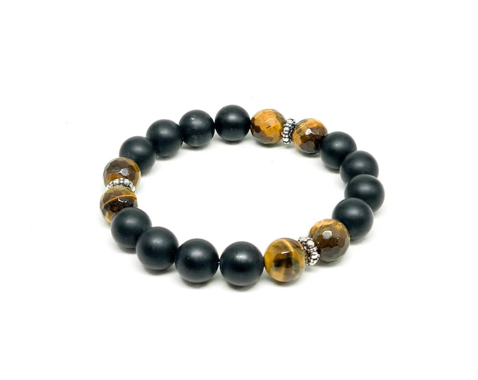 Men's beaded bracelet made Matte Onyx, Tiger Eye Faceted and 925 Silver spcers.
