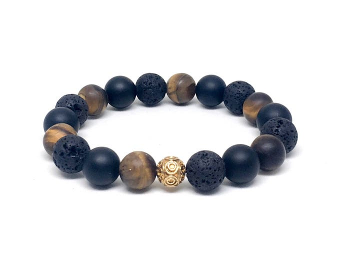 Men's beaded bracelet with 24k Gold Vermeil, Matte Onyx, Lava Stones and Matte Tiger Eye, Men's Bracelet, Men's Beaded Bracelet