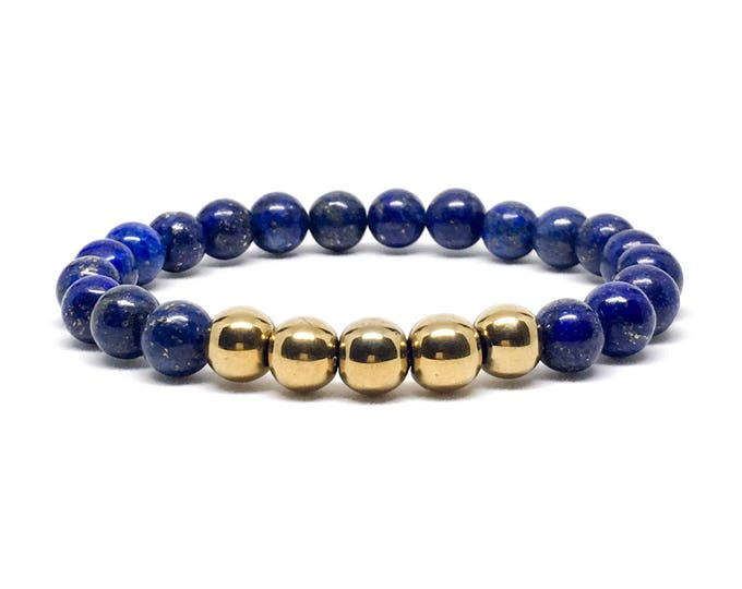 Men's bracelet with gold Hematite and Lapis Lazuli.