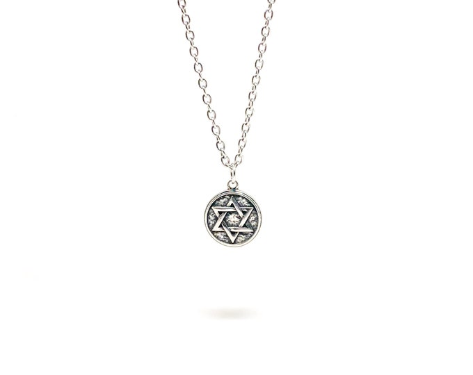 Men's stainless steel necklace with Star of David stainless steel pendant.
