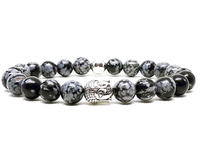 Men's bracelet with silver buddha and Snowflake Obsidian.