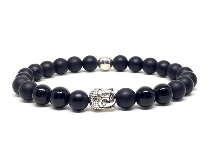 Silver Buddha and Matte Onyx beaded bracelet