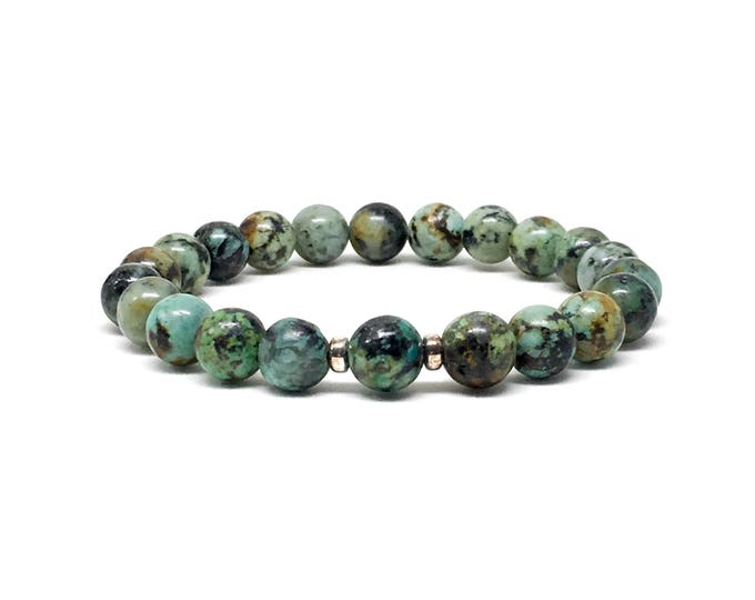 Beautiful men's bracelet made with African Turquoise and 925 Silver spacers, mens bracelet, bracelet, beaded bracelet, bracelets