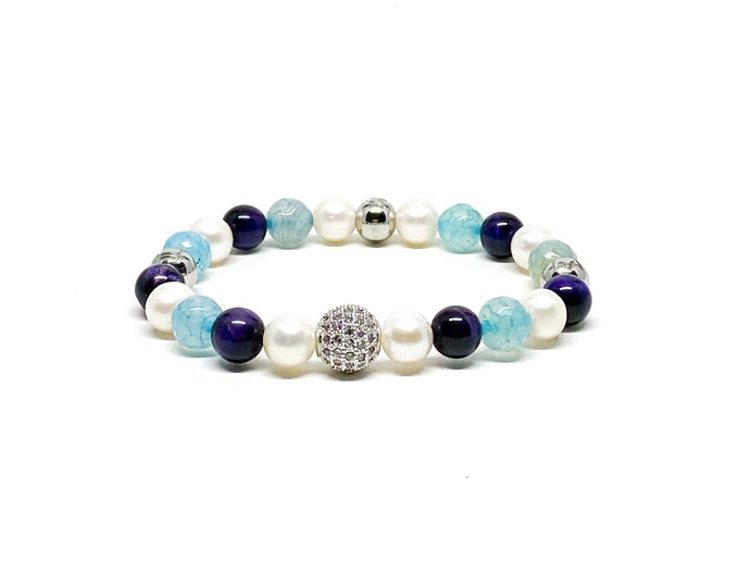 Women's beaded bracelet with Aquamarine, AAA natural white freshwater Pearls and purple Tiger Eye.