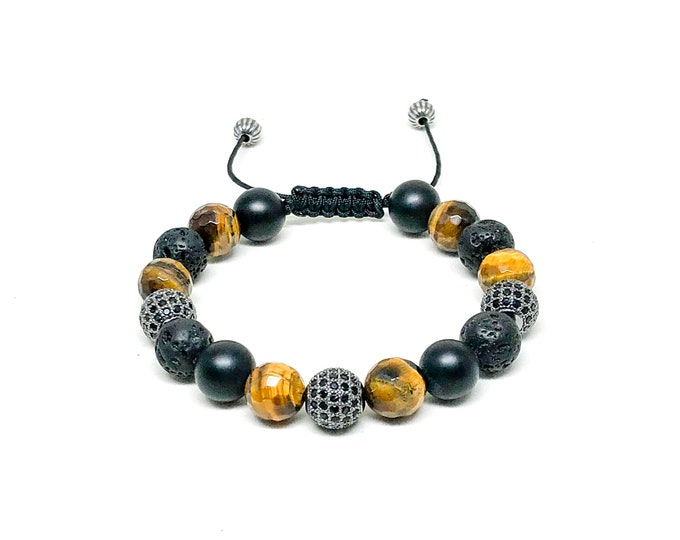 Men's beaded bracelet with Tiger Eye, Matte Onyx, Lava stones, CZ and 925 Silver beads.