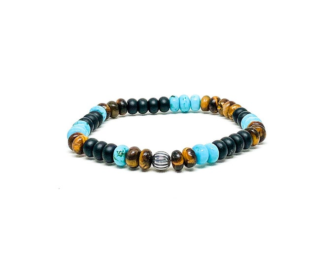 Men's bracelet with Onyx, Turquoise, Tiger Eye and Sterling Silver.
