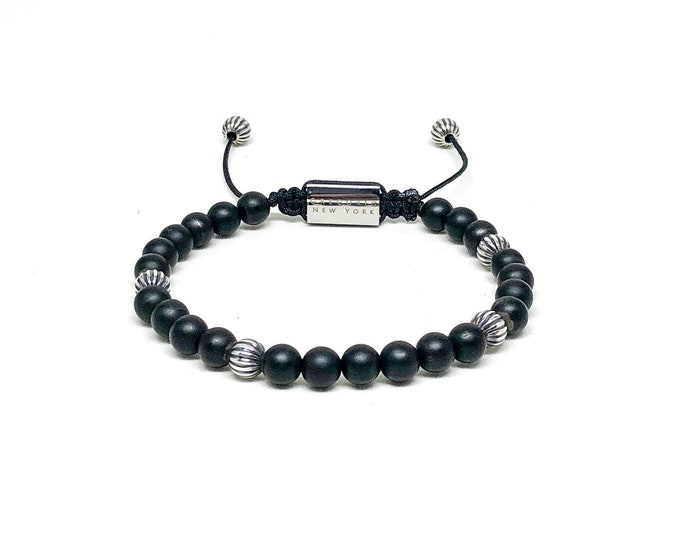 Men's bracelet with Matte Onyx, 925 Silver and stainless steel signature Gregorio New York logo.