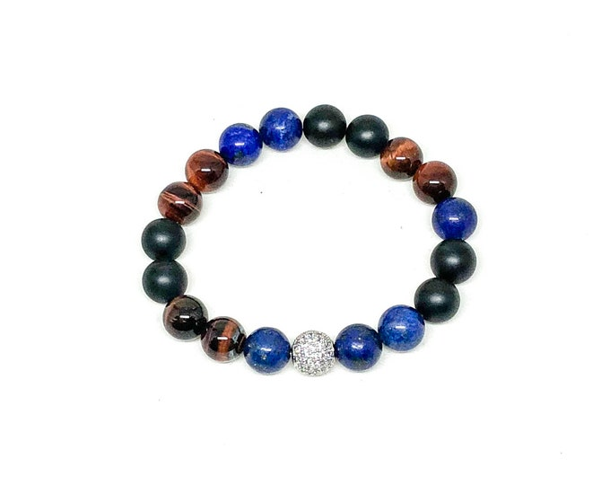 Men's bracelet with Onyx, Lapis, Red Tiger Eye and CZ Diamonds.