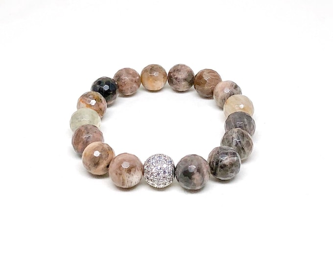 Women's bracelet with CZ Diamonds and Chocolate Sunstone.