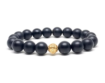 Mens beaded bracelet with 24k Gold Vermeil and Matte Onyx, mens beaded bracelet, mens bracelet, beaded bracelet, bracelets, mens bracelets