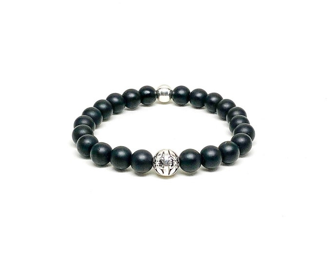 Men's bracelet with Matte Onyx and 925 Silver.
