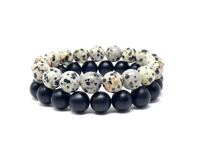 Men's beaded bracelets made with Dalmatian Jasper and Matte Onyx.