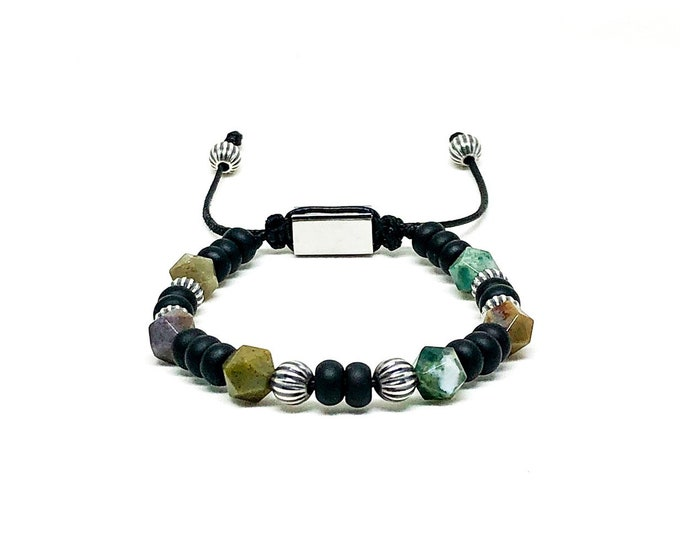Men's bracelet with Indian Agate, Onyx and sterling silver.