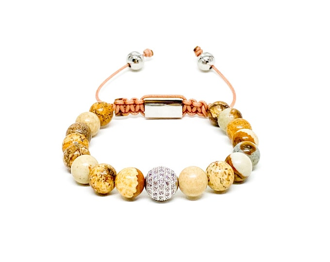 Women's bracelet with Picture Jasper and cubic zirconia bead.