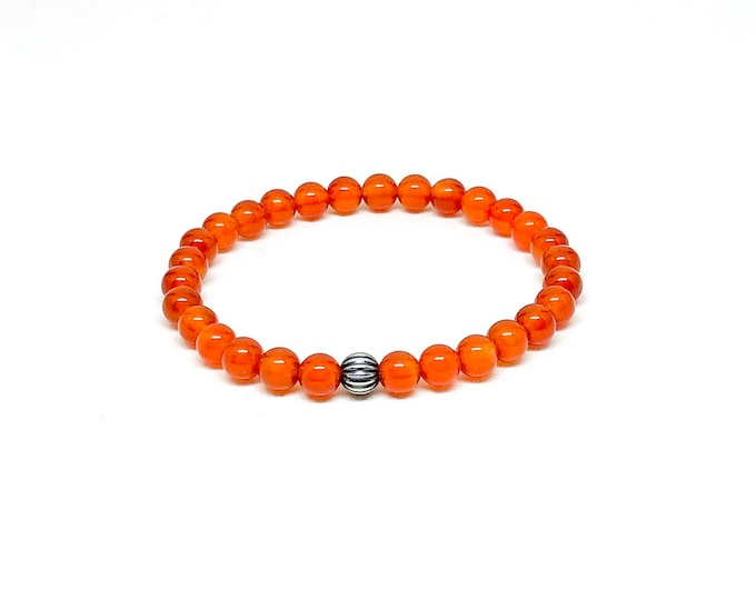 Men's bracelet with 925 silver and orange carnelian beads.