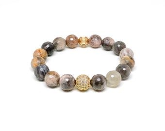 Women's bracelet with chocolate Sunstone, CZ and 14k gold filled.