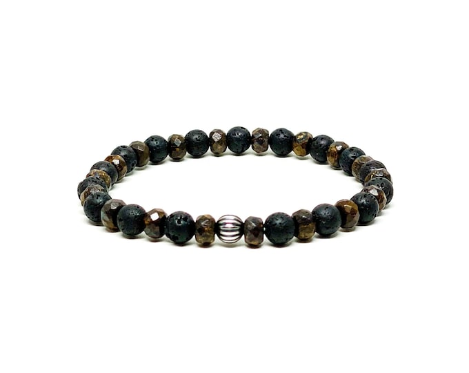 Sterling Silver with Bronzite and Lava stone bracelet.