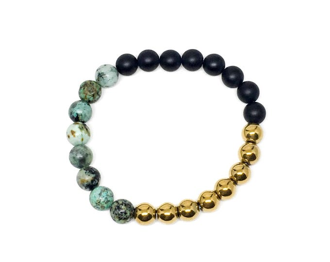 Men's bracelet made with African Jasper, Matte Onyx and Gold Hematite, mens bracelet, bracelet, mens beaded bracelet, bracelets