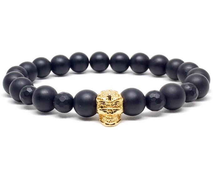 Stunning mens beaded bracelet with gold skull with Matte Onyx, mens beaded bracelet, beaded bracelet, mens bracelet, bracelets