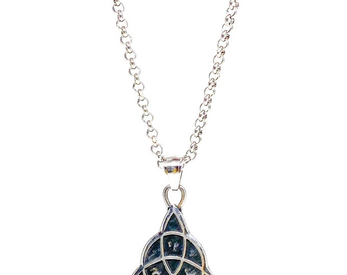 Men's stainless steel Triquetra Celtic infinity knot necklace.
