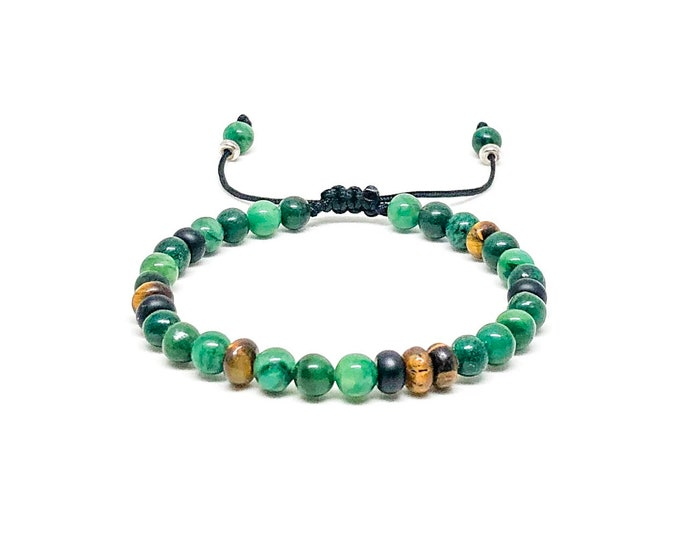 Men's bracelet with African Jade, Tiger Eye, Onyx and 925 silver spacers.