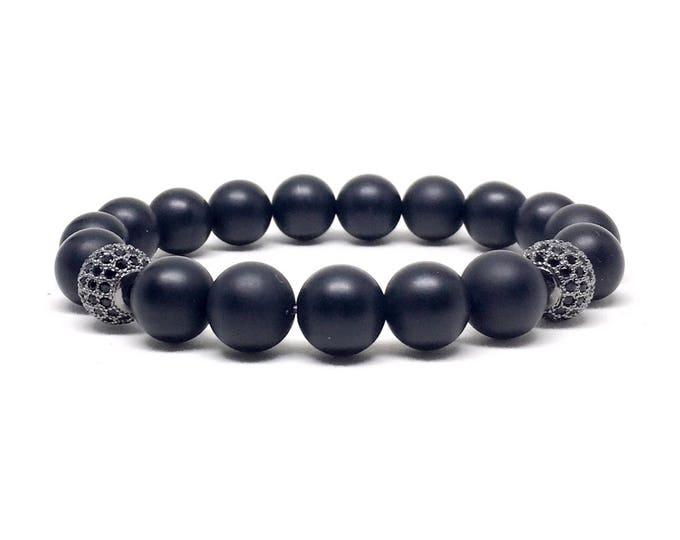 Men's bracelet with Matte Onyx and Cubic Zirconia.