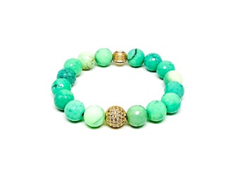 Women's bracelet with Chrysoprase, Cubic Zirconia and 14k gold filled.