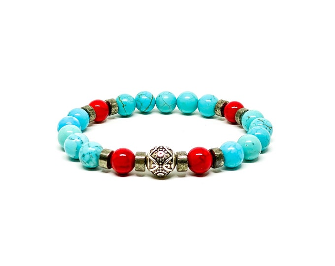 925 Bali sterling silver with Turquoise, Jade and Copper Pyrite bracelet.