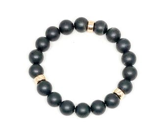 Men's bracelet made with Matte Onyx and 14k Gold Filled, men's beaded bracelet, beaded bracelet, men's bracelet, handmade bracelet