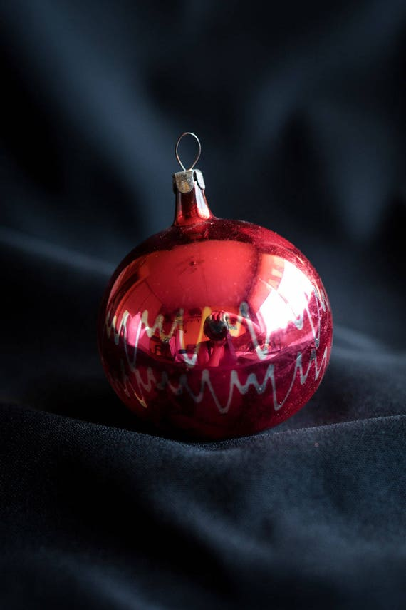 1970s. Christmas Decorations Old Vintage Christmas Tree Glass Toys Soviet Red Ball Glass Ornaments with Waves Made in USSR