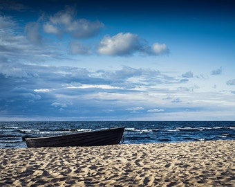 colourful Photo Print of Lonely Fishing Boat - Great Interior Addition for Cafe or Restaurant - Interior wall art photo print