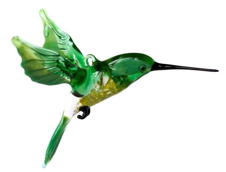 blown glass animal   hummingbird yellow wings long beak  murano figurine art