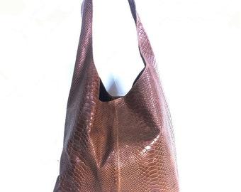 69613cdf34 Italian Suede Leather Crocodile Large Slouch Hobo Shoulder Handbag Tote -  TAN