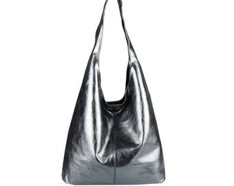 e0557e33b76 Italian Suede Leather Large Slouch Hobo Shoulder Handbag Tote Bag - DARK  SILVER