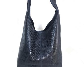 1b7e5a1ea6 Italian Suede Leather Crocodile Large Slouch Hobo Shoulder Handbag Tote -  NAVY BLUE
