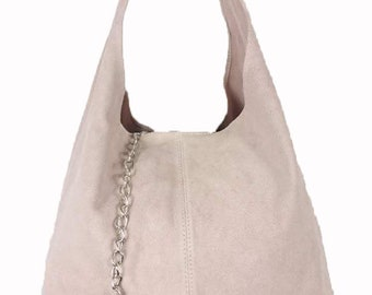 Italian Suede Leather Large Slouch Hobo Shoulder Handbag Tote Bag - BEIGE 00bf90b793260