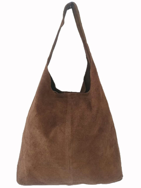 bb399476f74b Italian Suede Leather Large Slouch Hobo Shoulder Handbag Tote