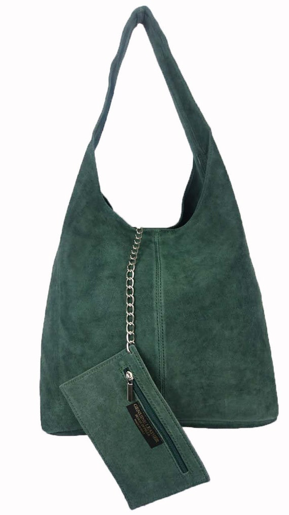 e54bcddb890d Italian Suede Leather Large Slouch Hobo Shoulder Handbag Tote