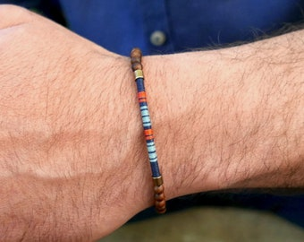 Dad's bracelet gift for him, New dad gift, Woven Morse Code in linen thread with wood beads, Adjustable size men's bracelet (FR)