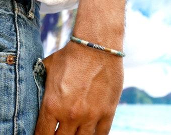Mens bracelet nature jewelry wool woven mens bangle for boyfriend birthday gift, Ethnic bracelet boho jewelry 7th anniversary gift for him