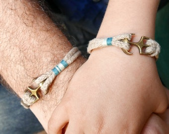 Dad and Son matching bracelets Set, Natural rope bracelet, Father and boy nautical anchor bracelet, Fathers day gift Summer jewelry gift