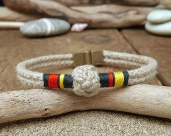Casual rope bracelet men handmade hemp mens jewelry, Nautical macrame mens bracelet for boyfriend gift, Birthday Eco friendly gifts for men