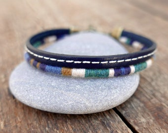 Men leather bracelet with wool woven bracelet assembled for a unique gift for men, Trendy men's jewelry with a nautical style, French design