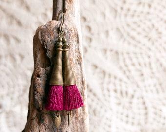 Dangle tassel earrings, Women gift, Valentine gift, Boho Gypsy earrings, Girlfriend gift, Gift for her, Long earrings, Wife gift, Bohemian